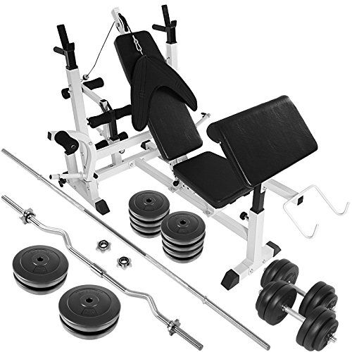 Multi Function Gym Weight Bench with 30kg Dumbbell   80kg Weight Plates Barbell Exercise Leg Press Preacher Arm Curl
