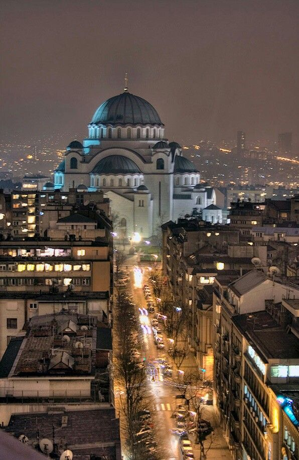 Belgrade, Serbia. Night. The St. Sava temple. Beograd, Srbija. Noc. Hram Sv. Save.