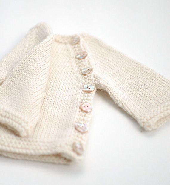 Baby Alpaca baby sweater  Hand knit organic alpaca by KnittedLT