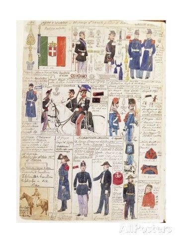 Uniforms of the Italian Risorgimento, Color Plate by Quinto Cenni Stampa giclée su AllPosters.it