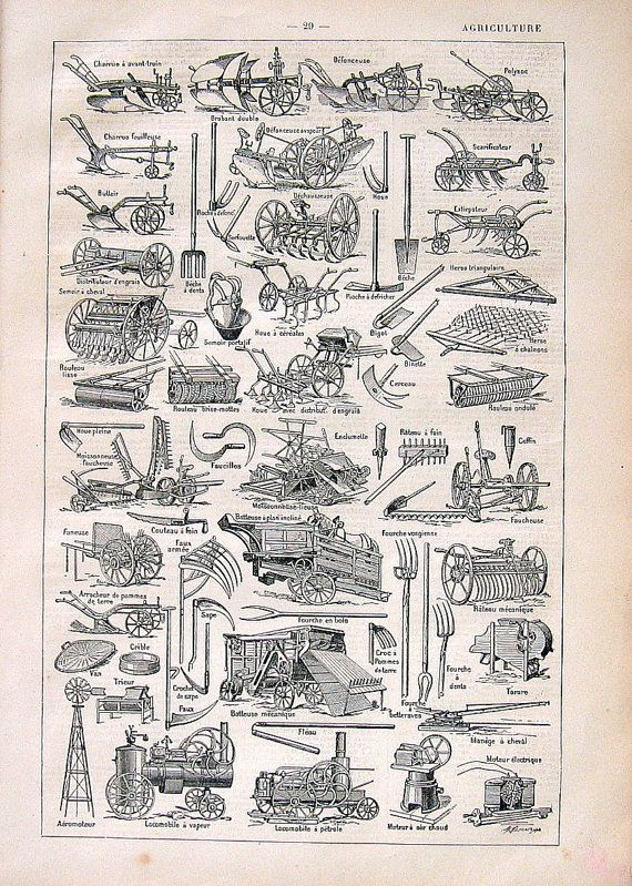 Agriculture Tools Implements Antique French Dictionary Book Plate 1908 Larousse on Etsy, $12.00