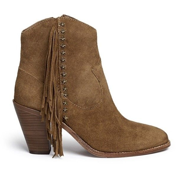 Ash 'Indy' star stud fringe suede boots (635 TND) ❤ liked on Polyvore featuring shoes, boots, brown, fringe shoes, studded boots, ash footwear, studded shoes and star shoes