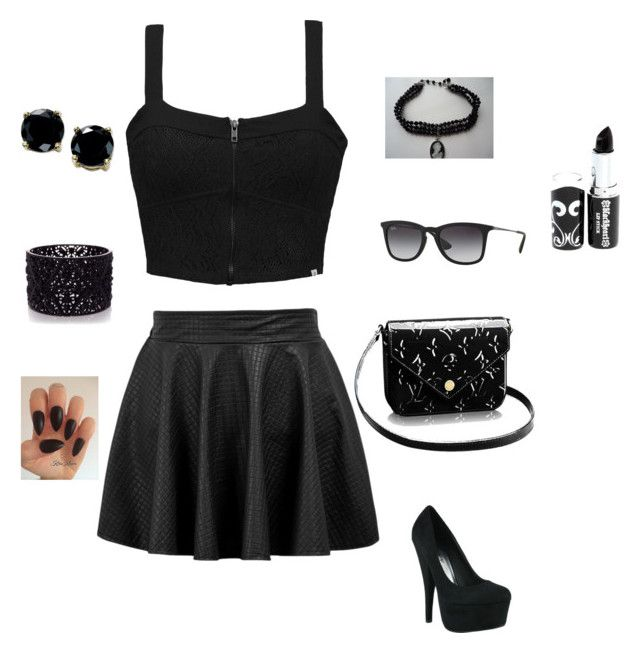 """goth theme"" by krizy123 ❤ liked on Polyvore featuring Element, Ray-Ban, B. Brilliant, Oasis and allblack"