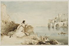 Carl Blechen - Italian Girl with Mandolin on the Coast of the Gulf of Naples, 1834.