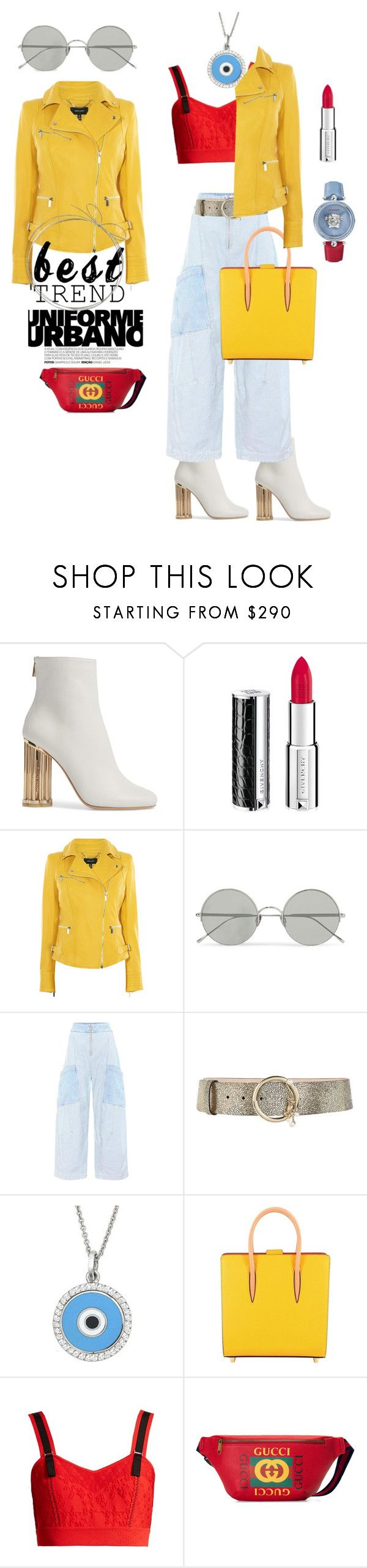 """Wide leg jeans with ankle boots and Yellow details"" by fashioncoloristnyc ❤ liked on Polyvore featuring Salvatore Ferragamo, Givenchy, Karen Millen, Sunday Somewhere, Chloé, Alberta Ferretti, Aaron Basha, Christian Louboutin, Alexander McQueen and Gucci"