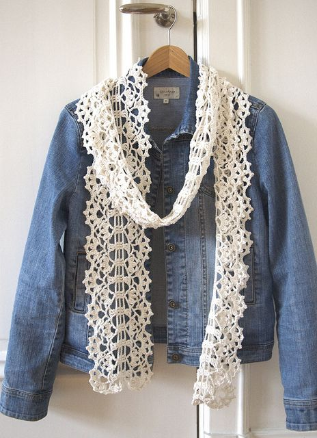 Beautiful lace scarf! Would be lovely for cool summer evenings.  Pattern by Kazuko Ryokai on Ravelry.