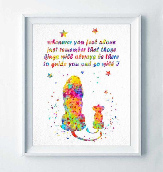 Simba und Mufasa Wasserfarben drucken die Plakatkunst Disney