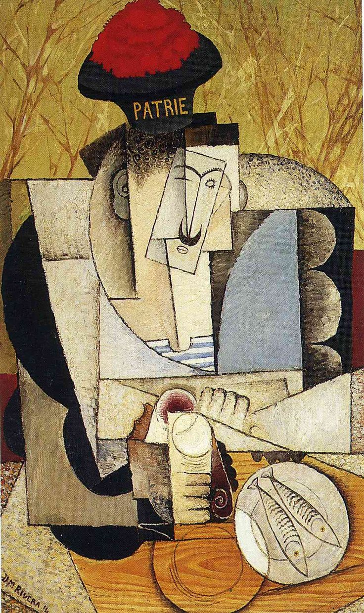 Diego Rivera, experimenting with Cubism.  Sailor at Breakfast, 1914