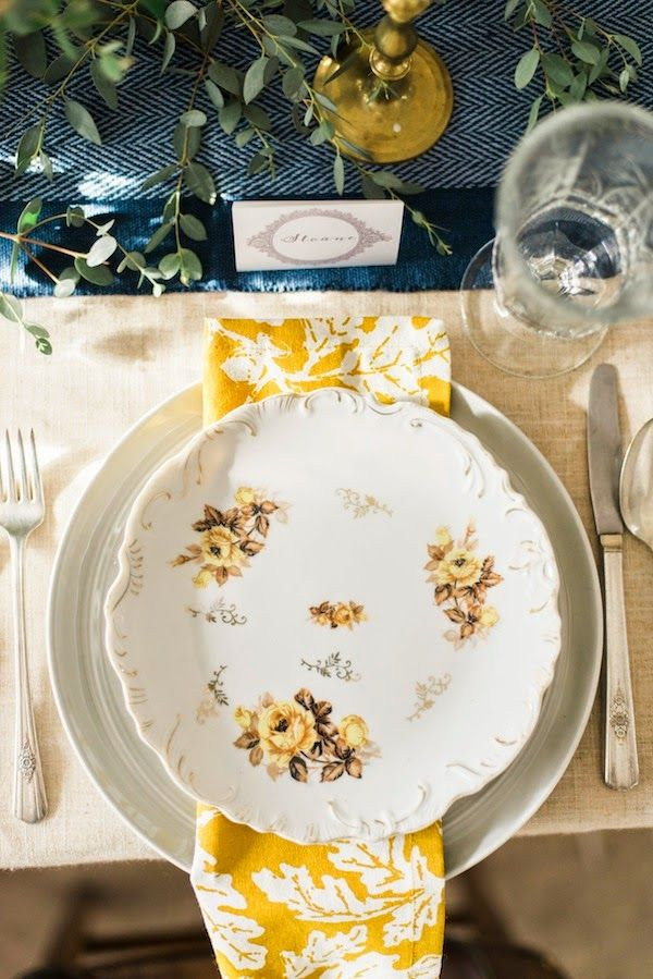 mix & match vintage china with a more modern plate