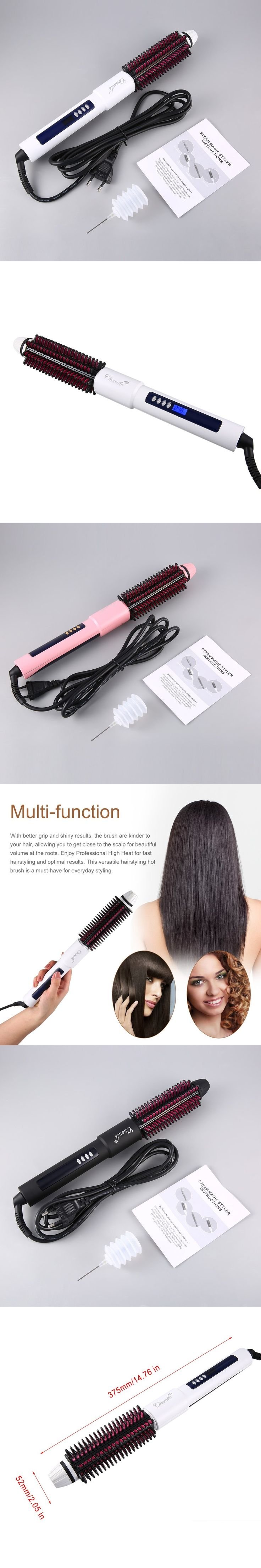 Multifunctional Infrared 3 in 1 Steam Magic Styler Electric Hair Brush with Straightener Curling irons Steaming Functions