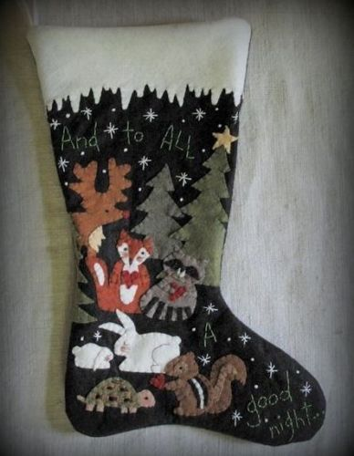 Christmas-Stocking-PATTERN-AND-KIT-To-All-A-Good-Night-Wool-Felt-Applique