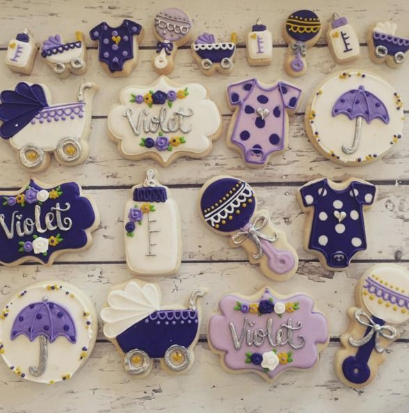 "Hayleycakes And Cookies on Instagram: ""the cutest violet and silver baby shower…"