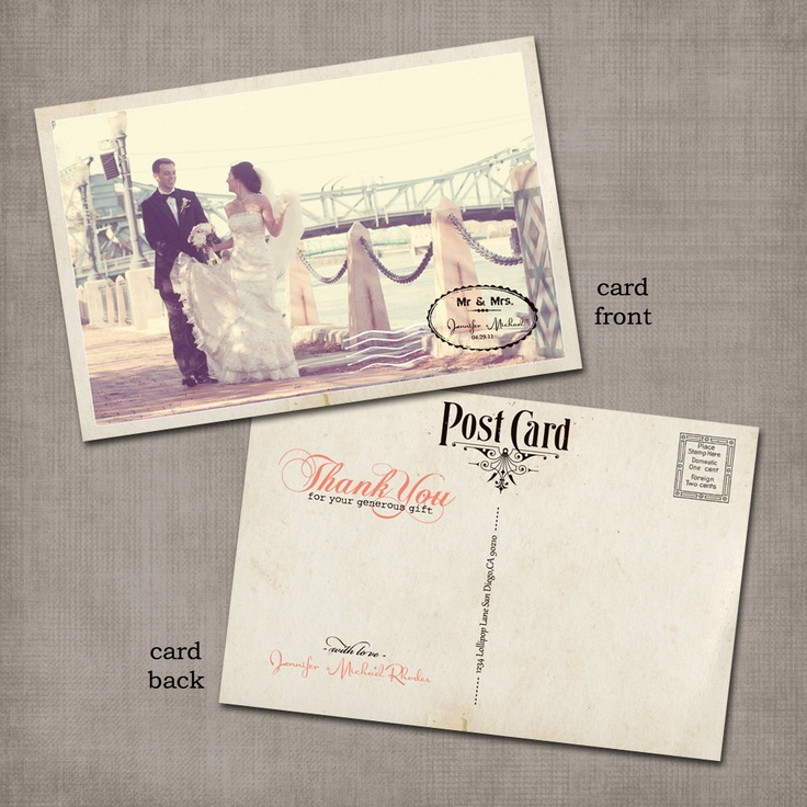 Such a cute idea! Vintage thank you postcards.