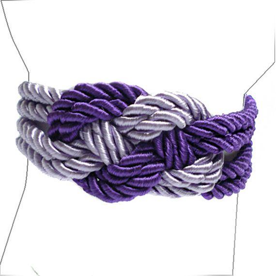 Charm - Braccialetto in cordoncino di raso viola e glicine