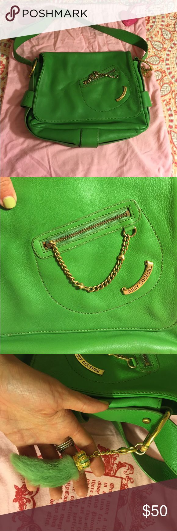 Juicy couture green leather bag, comes with duster Juicy couture green leather bag, comes with duster. Super cute pockets inside. Lucky rabbit foot charm. Juicy Couture Bags