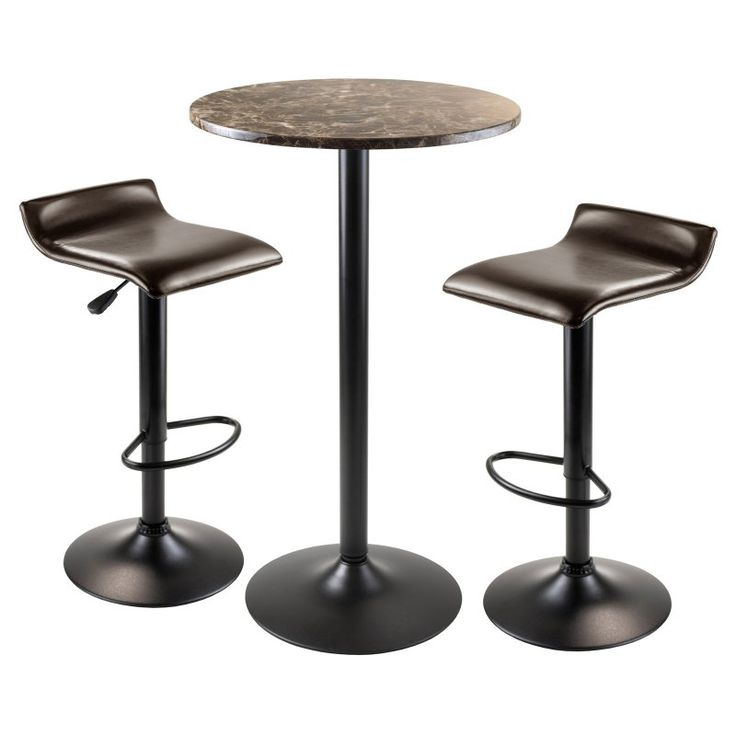 Winsome Trading Cora 3 Piece Round Pub Table Set - Black - 76383