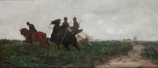 """Józef Chełmoński (1849 - 1914) """"Patrol powstańczy"""""""