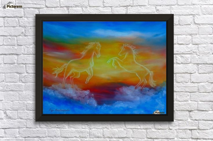 Framed, Art Print,  horses,skyscape,fantasy,scene,sky,clouds,sunset,sunrise,equine,equestrian,wild,animals,wildlife,picturesque,dream,magical,majestic,whimsical,vibrant,vivid,colorful,blue,impressive,cool,beautiful,powerful,atmospheric,celestial,mesmerizing,mystical,dreamy,dreamlike,contemporary,imagination,surreal,fine,oil,wall,art,images,home,office,decor,painting,artwork,modern,items,ideas,for sale,pictorem