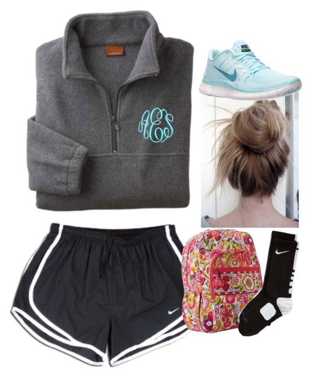 """can't wear track shorts to church camp :("" by moony2725 ❤ liked on Polyvore featuring NIKE and Vera Bradley"