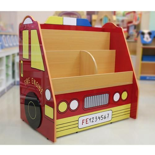 Kids Room Book Shelves Nursery Corner Bookshelf Cartoon Toy Fire Truck Storage Cabinet