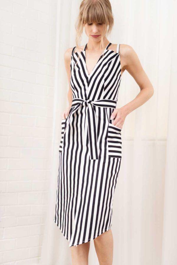 1432481b58 PETITE Kiki Striped Dress in black and white by Anar London    BombPetite .com