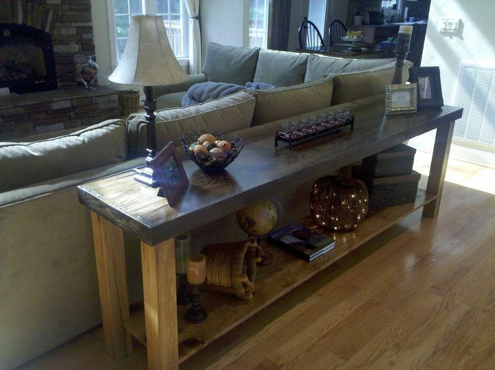 A Custom Sofa Table Made From Salvaged Wood At The Black Dog Salvage Shop
