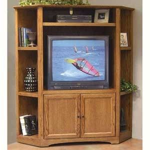 Thornwood Shelburne Medium Oak Finish Corner Entertainment Unit - WallUnitDealers.com