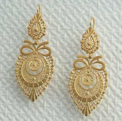 Gold Plated Sterling Silver 925 Filigree Earrings Lace Portuguese Bridal Bow | eBay