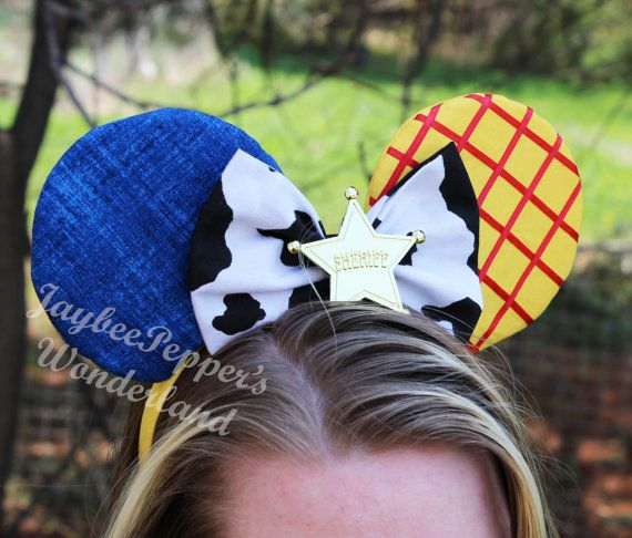 Woody ears Toy Story mouse ears Yellow cow print blue jeans disney trip vacation Woody headband ears on Etsy, $28.00