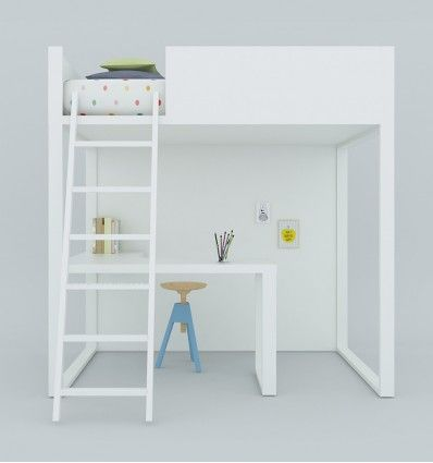lagrama - 'homage' loft bed with desk - white