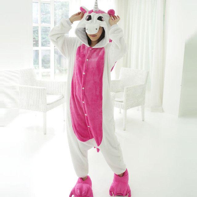 Pink Unicorn Pajamas Sets Flannel Pajamas Winter Nightie Stitch Pyjamas for Women Adults