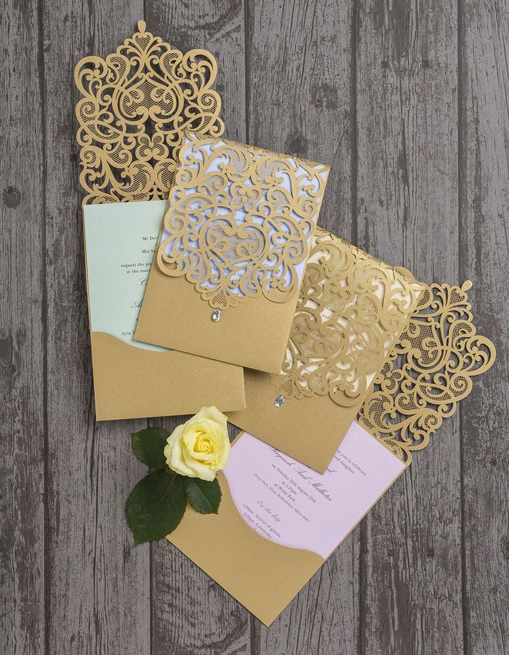 Gold Diamante Laser Cut Pocketfold Personalised Wedding