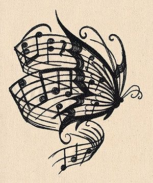 Soaring musical notes stream from this butterfly's wings. Pretty and uplifting drawing - painting idea.