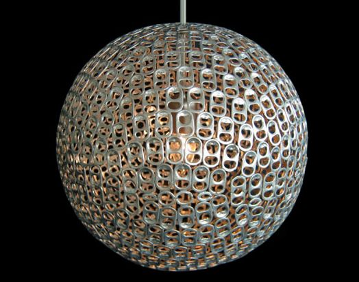 Soda Tab Lamp Shade..would be a good base to poke tissue paper or flowers in.