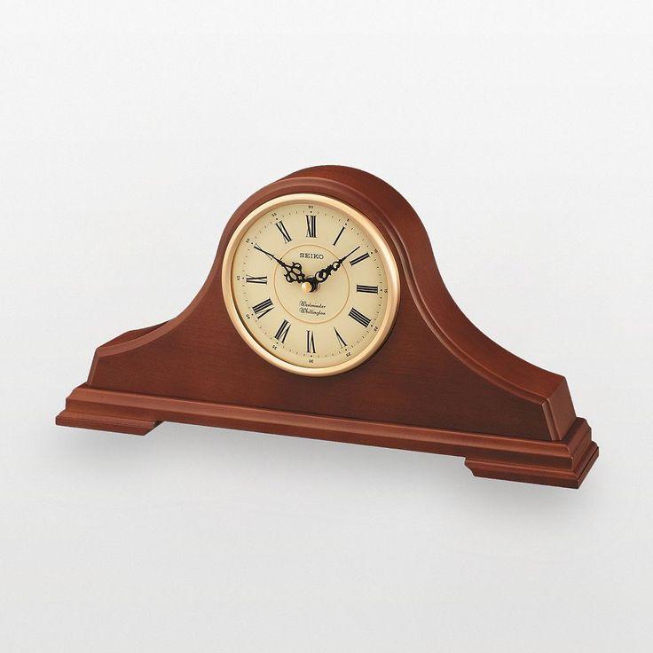 Seiko Tambour Oak Mantel Clock - QXJ008BLH, Brown