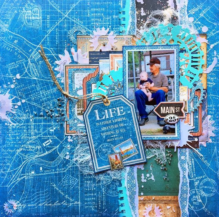 Scraps of Darkness scrapbook kits: Jennifer Neuber Walth created this stunning masculine layout with our April 2016 Travel Stories kit. Subscribe to our kits and have a new box of mixed media scrapbooking fun delivered to you each month. www.scrapsofdarkness.com