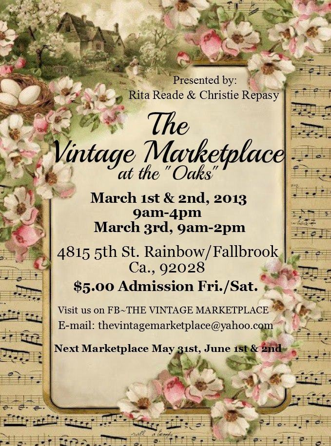 Okay Ladies, its that time....Get those shopping carts out and come on over and spend the day meandering thru the shops for that can't live without it... Take-Me-Home. Please stop in for a visit at Sweet Magnolia's Farm, we would love to meet you.  Hope to see you there. March 1st & 2nd, 2013