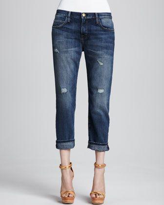 Boyfriend Loved Destroyed Cuffed Jeans by Current/Elliott at Neiman Marcus.