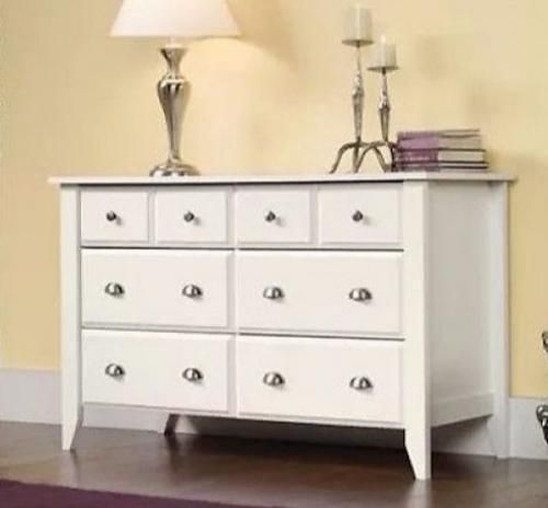 White 6 Drawer Dresser Wood Double Chest Modern Storage Furniture NEW Organizer #White6Drawer