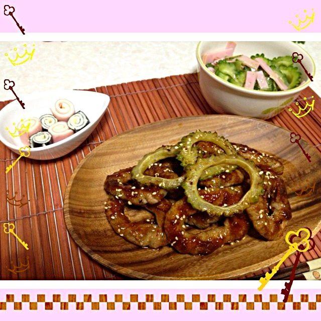 今日も暑い  今日もパッパと作れる料理を!! と、思い  ゴーヤの肉巻き作ったら予想外に肉巻き巻きするのに時間かかっちゃった  ⭐ゴーヤの浮き輪風肉巻き ⭐ゴーヤとハムのサラダ ⭐海苔とハムのチーズ巻き - 9件のもぐもぐ - 本日の夕ご飯 by ikumiki