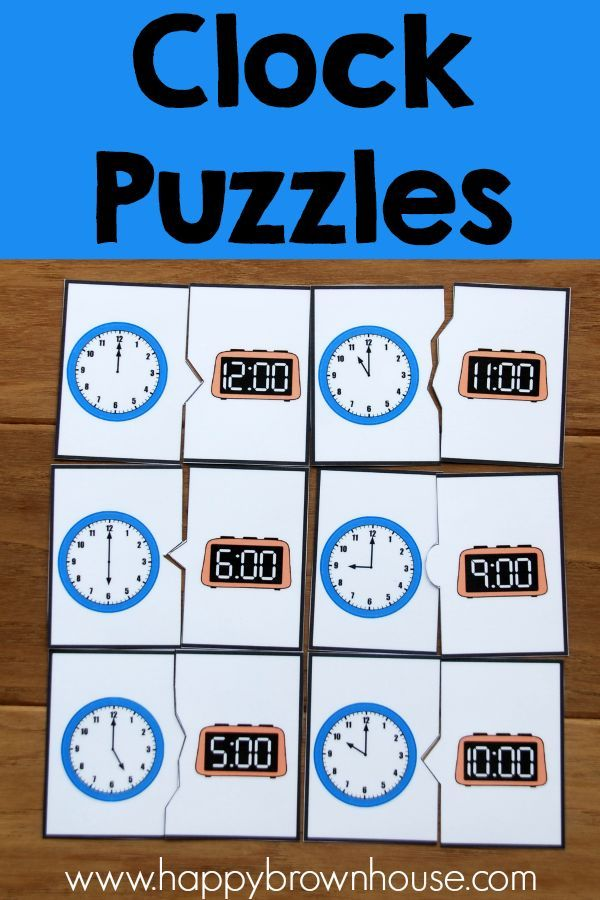 Clock Puzzles Clock Learning For Kids Learning Clock Kids Calendar