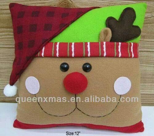 Rena almofada 04 no l christmas natale pinterest - Adornos arbol navidad fieltro ...