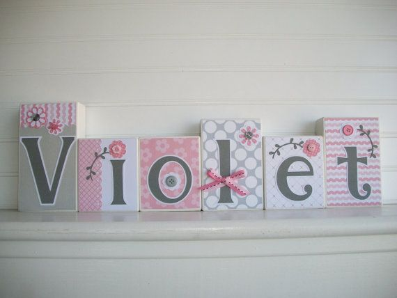 Baby Name Blocks M2M Cocalo Couture Alma Nursery by RessieLillian