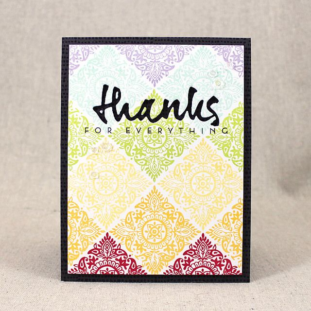 Thanks For Everything Card using PTI Woodblock Prints stamp set + Wet Paint Cuts - Lizzie Jones