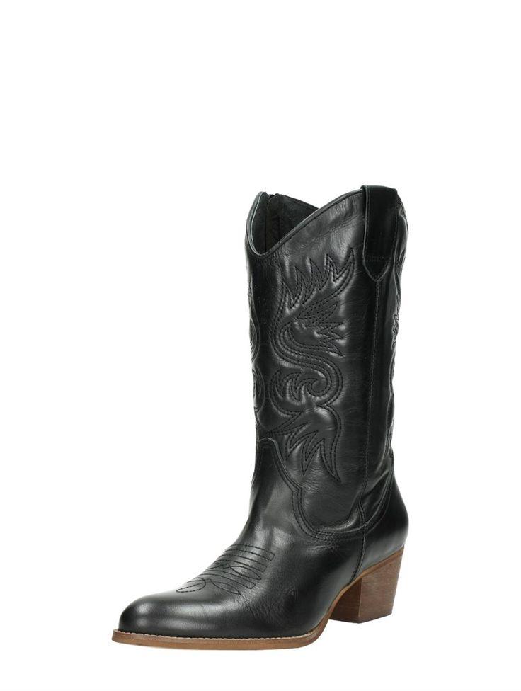 Visions zwarte leren western laarzen met hak voor dames