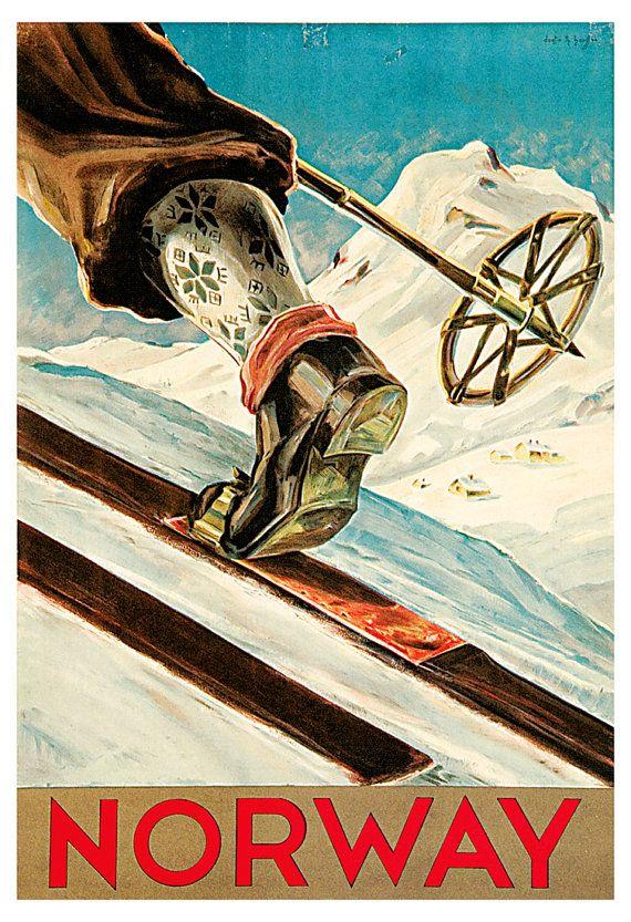 Ski Norway Poster, Vintage Skiing Poster, Norge, Scandinavia