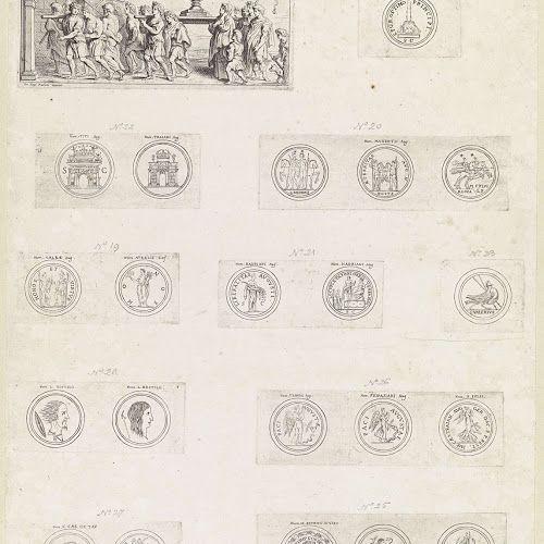 Blad met Triomfoptocht met de zevenarmige kandelaar en Romeinse munten, Theodoor van Thulden, after Peter Paul Rubens, Anonymous, 1642 - Rijksmuseum