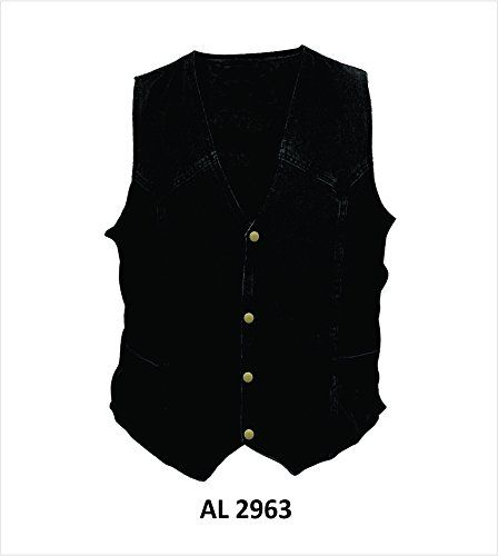 Mens Leather Biker Vest with Christian Patches -X-Large Black