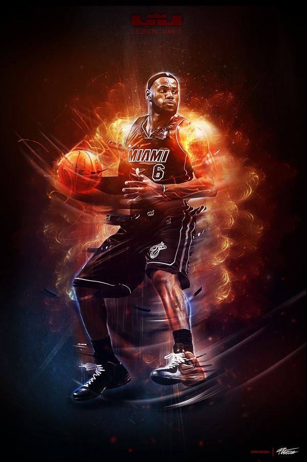 "Lebron James ""explosion"" by Caroline Blanchet, via Behance"
