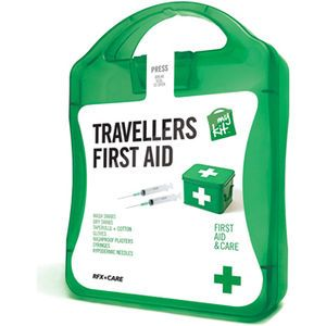The MyKit Travellers First Aid includes Wash Swabs x 4, Dry Swabs x 6, Cotton Tape Roll x 1, Washproof Plasters x 6, 2ml Syringes x 2, Needl...